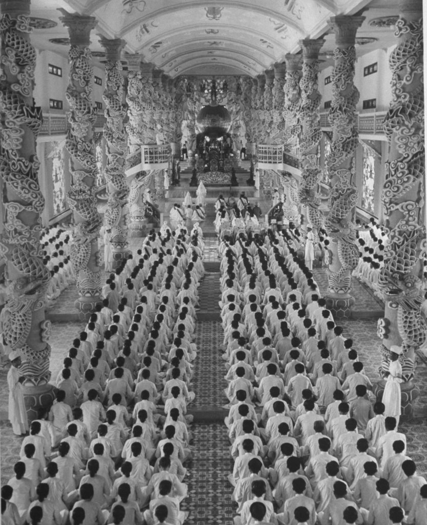 Cao Dai religious service in Cambodia. (Photo by Jack Birns/The LIFE Picture Collection © Meredith Corporation)