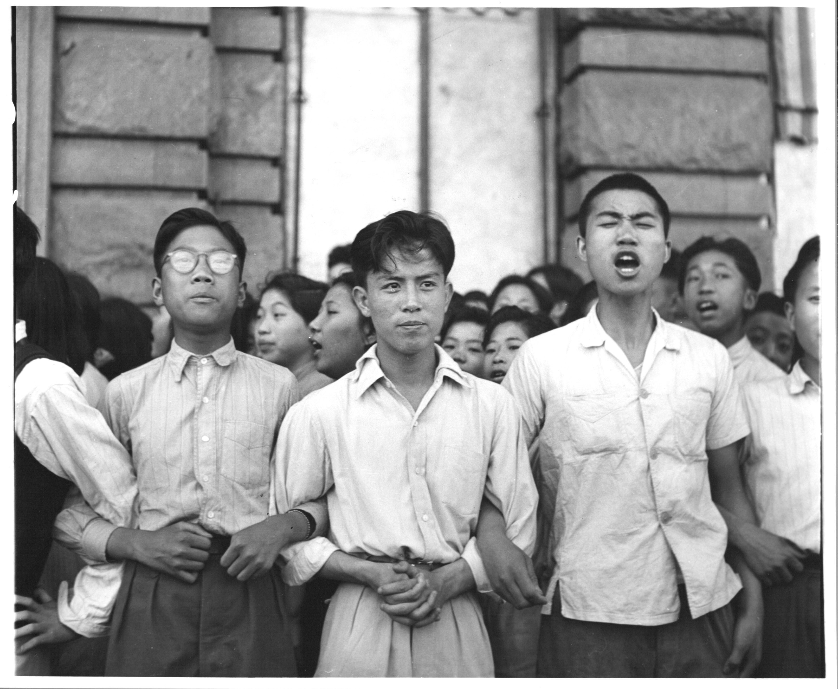 Students from Chiao Tung University during an Anti-American demonstration. (Photo by Jack Birns/ The LIFE Picture Collection © Meredith Corporation).