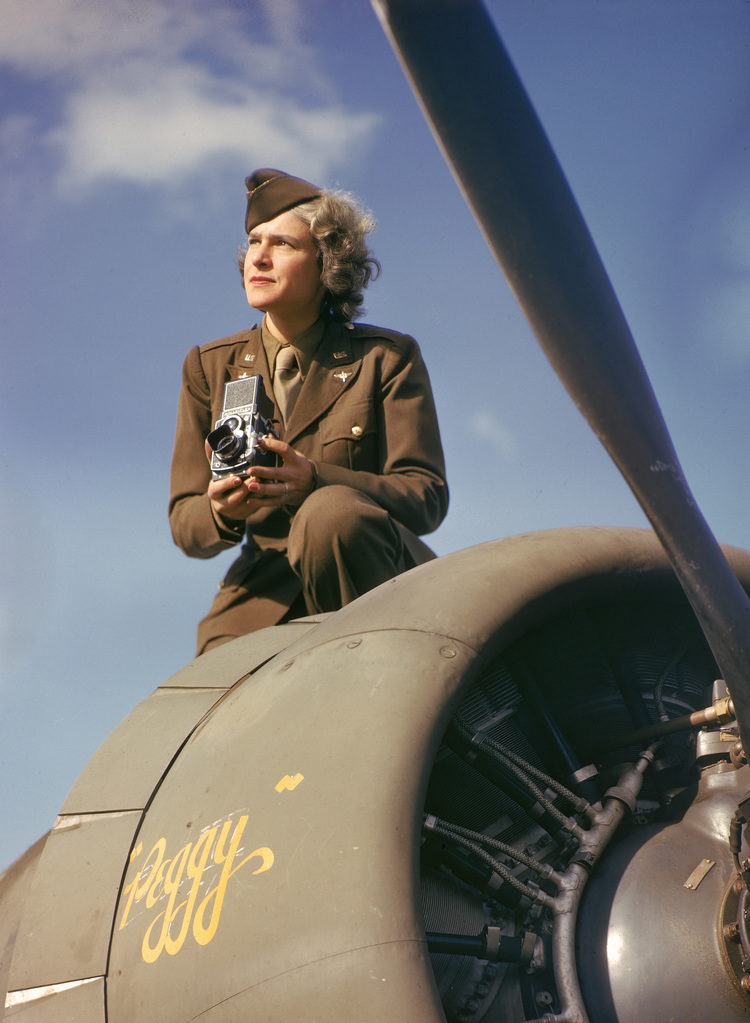 Margaret Bourke-White with camera (Photo by Margaret Bourke-White/The LIFE Picture Collection)