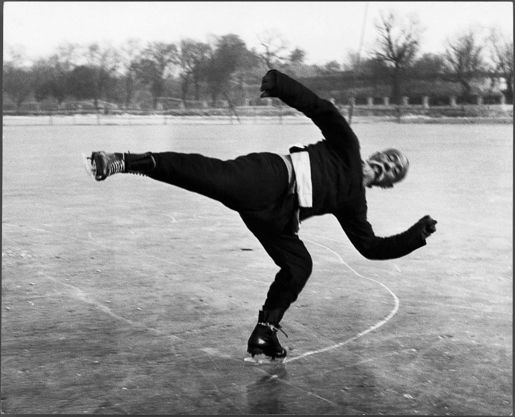 An elderly Chinese man ice skating. (Photo by Jack Wilkes/The LIFE Picture Collection © Meredith Corporation)