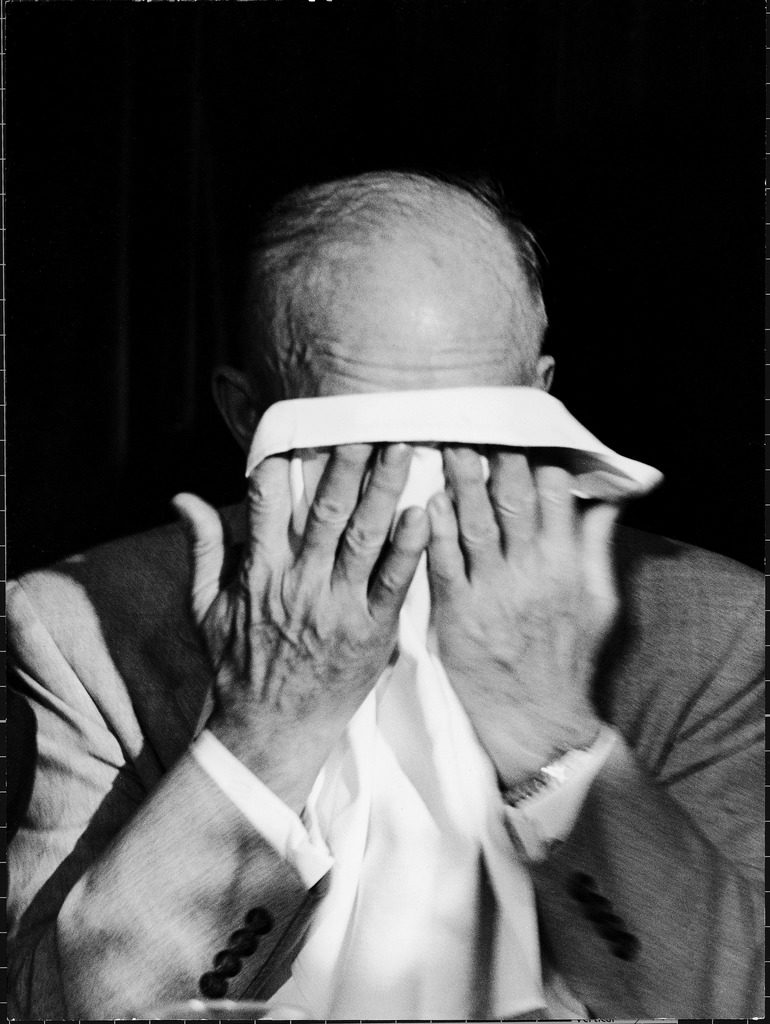 President Dwight D. Eisenhower crying after his speech at the 82nd Airborne luncheon. (Photo by Hank Walker/The LIFE Picture Collection © Meredith Corporation)