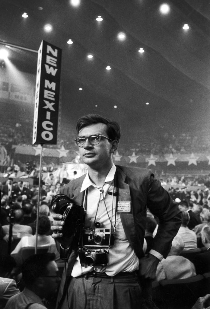 Grey Villet with his camera at the Democratic National Convention. (Photo by Grey Villet/The LIFE Images Collection)