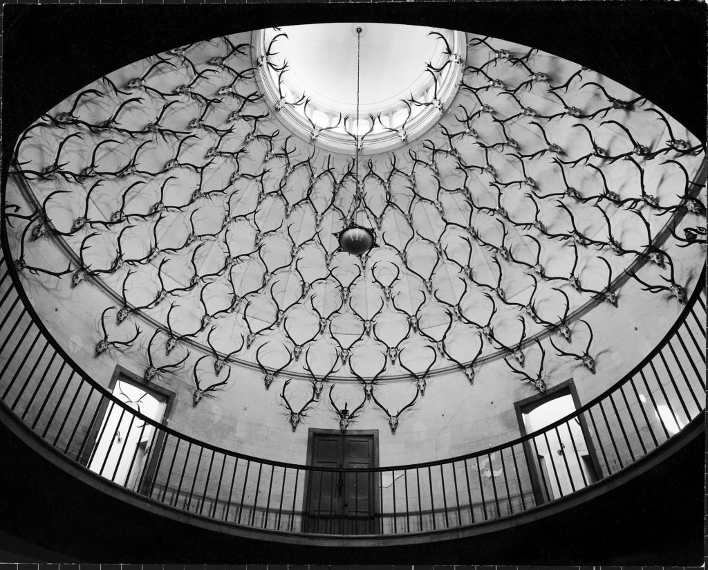 Deer antlers hanging in domed ceiling of Gordon Castle. (Photo by William J. Sumits/The LIFE Picture Collection © Meredith Corporation)