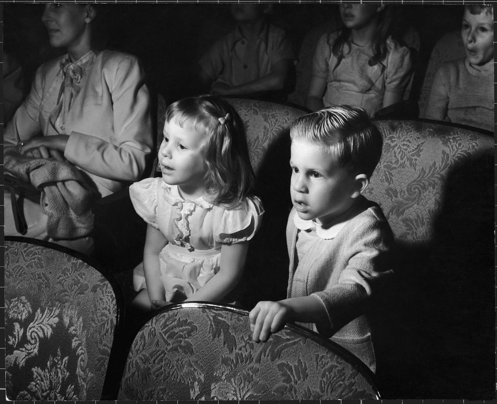 Children watching cartoons in a movie theater. (Photo by Charles Steinheimer/The LIFE Picture Collection © Meredith Corporation)