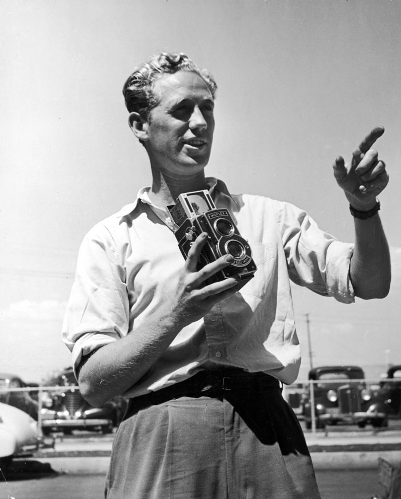 Peter Stackpole with his camera. (Photo by Hans Knopf/The LIFE Images Collection)