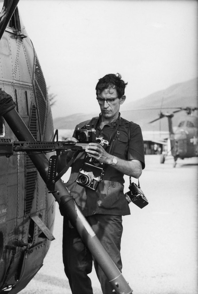 Larry Burrows with his camera. (Photo by Larry Burrows/The LIFE Picture Collection © Meredith Corporation)