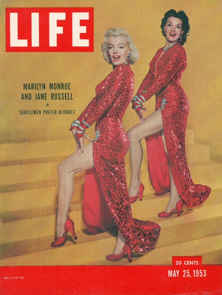 "LIFE magazine cover published May 25, 1953. Featuring actresses Marilyn Monroe & Jane Russell in scene from the film ""Gentlemen Prefer Blondes."" (Photo by Edward Clark/The LIFE Picture Collection © Meredith Corporation)"
