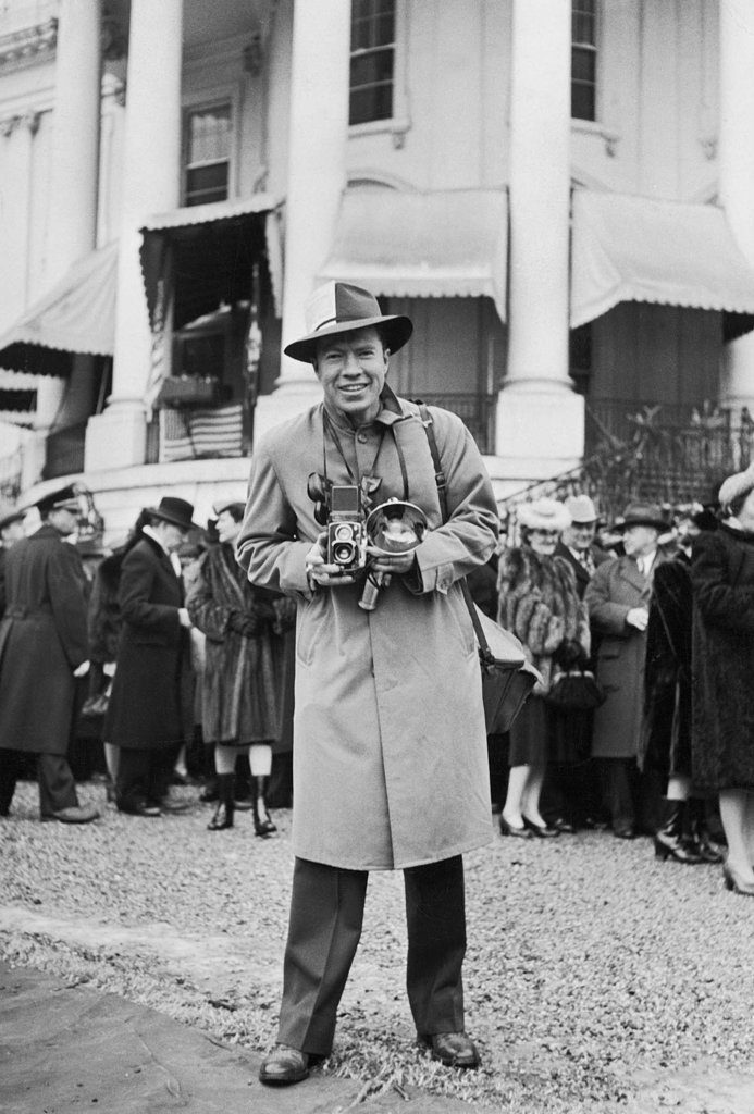 Portrait of Edward Clark with his camera. (Photo by Hansen/The LIFE Images Collection)