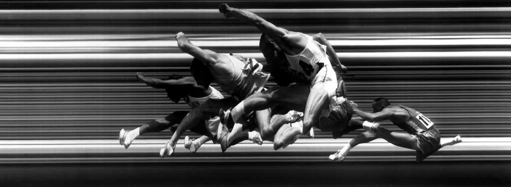 United States track athletes taking hurdles at the men's 1960 United States Olympic trials for track and field. (Photo by George Silk/The LIFE Picture Collection © Meredith Corporation)