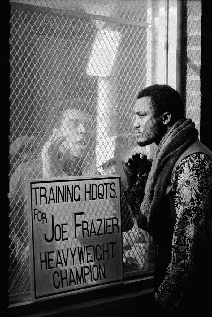 Boxer Muhammad Ali (L) taunting boxer Joe Frazier (R) during training for their fight. (Photo by John Shearer/The LIFE Picture Collection © Meredith Corporation)
