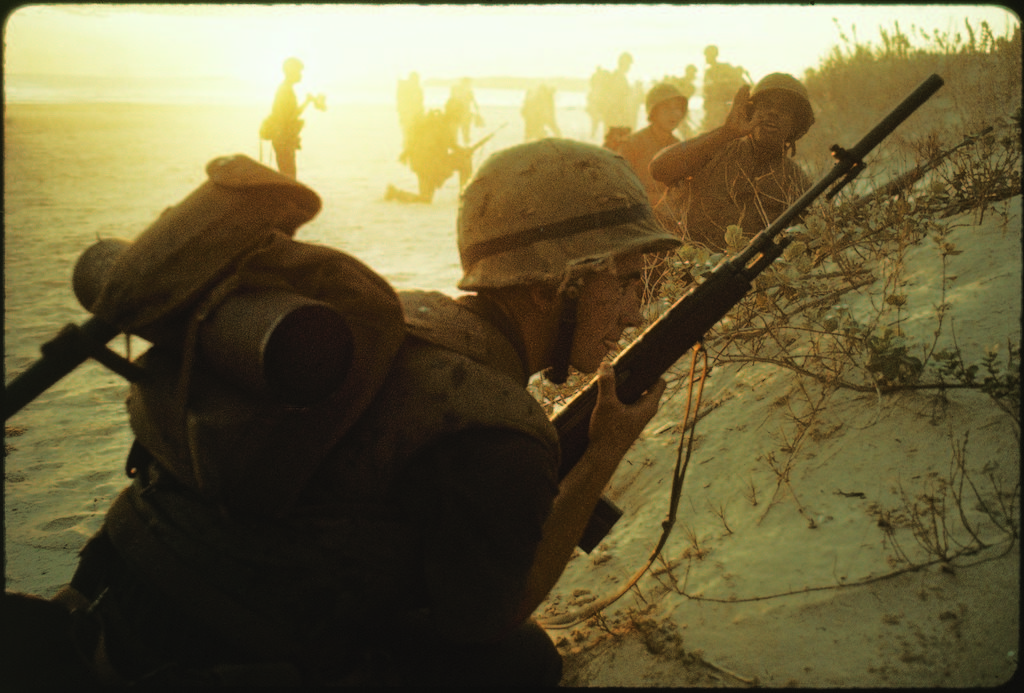 American soldiers of 7th Marines landing on the beaches of Cape Batangan during the Vietnam War. (Photo by Paul Schutzer/The LIFE Picture Collection © Meredith Corporation)