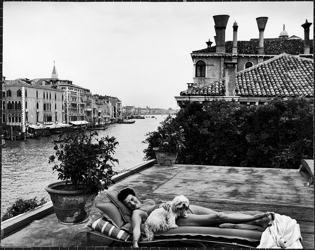 A scene from the Grand Canal: Peggy Guggenheim on her roof. (Photo by Frank Scherschel/The LIFE Picture Collection © Meredith Corporation)