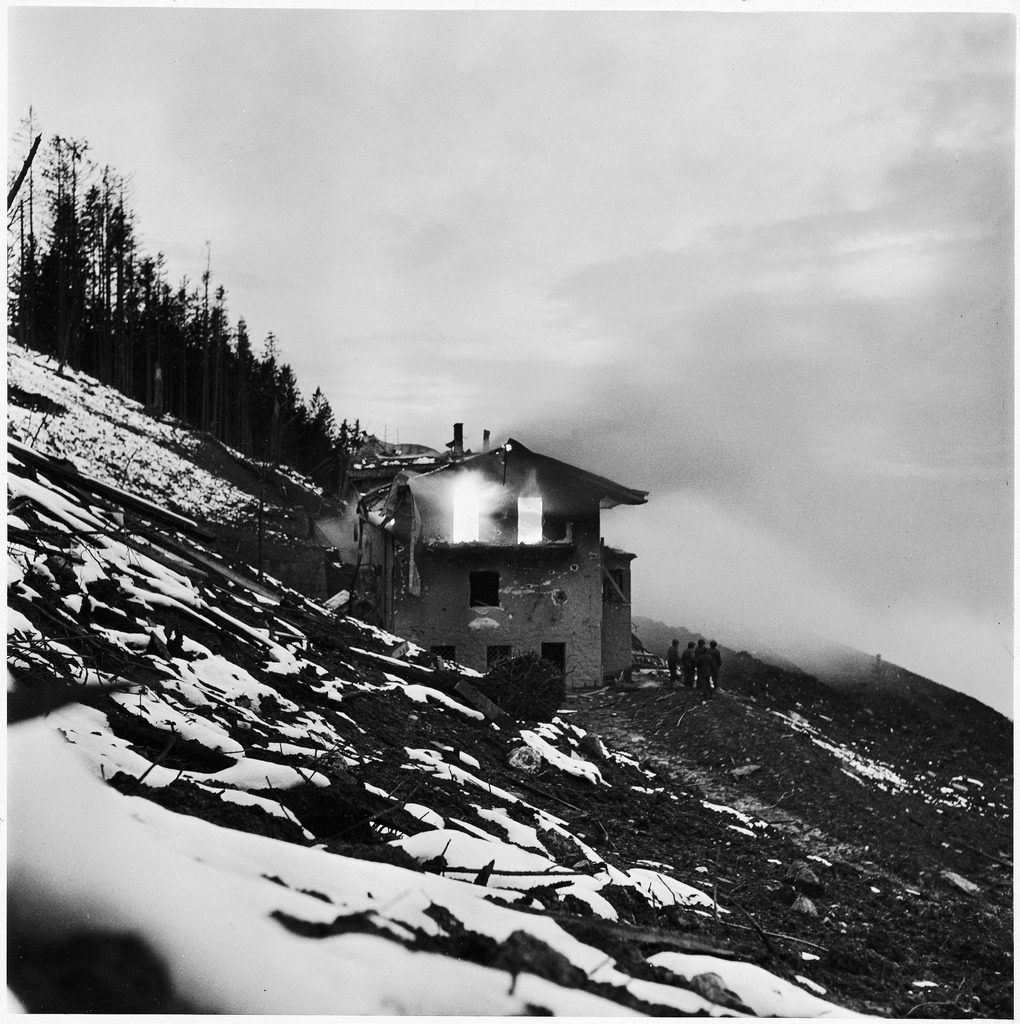 "A view of Adolf Hitler's burning mountain house, ""The Eagle's Nest."" (Photo by David E. Scherman/The LIFE Picture Collection © Meredith Corporation)"