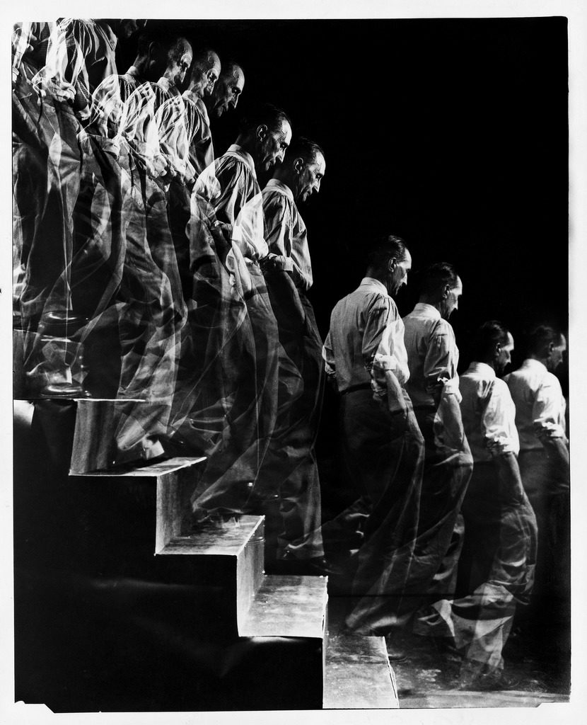 "Artist Marcel Duchamp walking down a flight of stairs in a multiple exposure image reminiscent of his famous painting ""Nude Descending a Staircase."" (Photo by Eliot Elisofon/The LIFE Picture Collection © Meredith Corporation)"