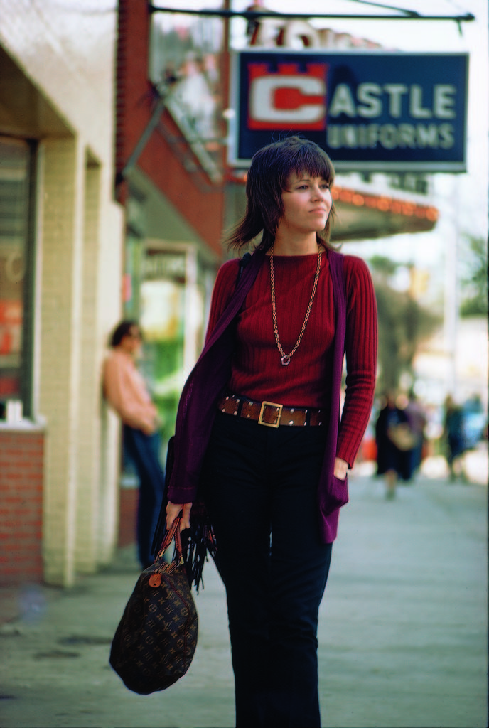 Actress Jane Fonda carrying a Louis Vuitton bag as she walks down the street. (Photo by Bill Ray/The LIFE Picture Collection © Meredith Corporation)