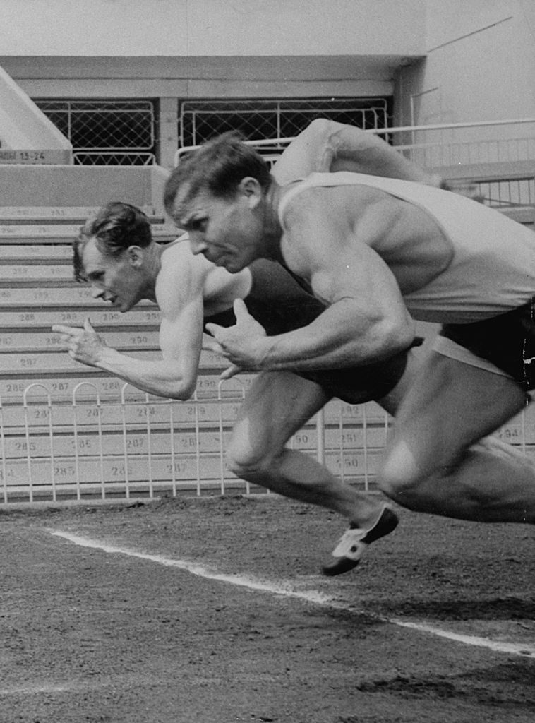 Soviet athletes Boris Tokarev (L) and Vladimir Suharev (R) practicing for the Russian Olympics. (Photo by Lisa Larsen/The LIFE Picture Collection © Meredith Corporation)