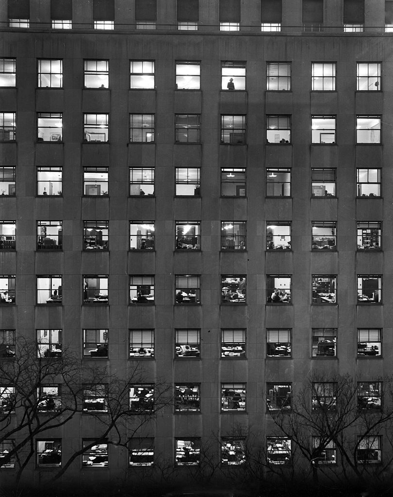 View of illuminated office windows in a section of the Lafayette Building (also known as Export-Import Bank Building), Washington DC, 1946. (Photo by Walter B. Lane/The LIFE Picture Collection © Meredith Corporation)