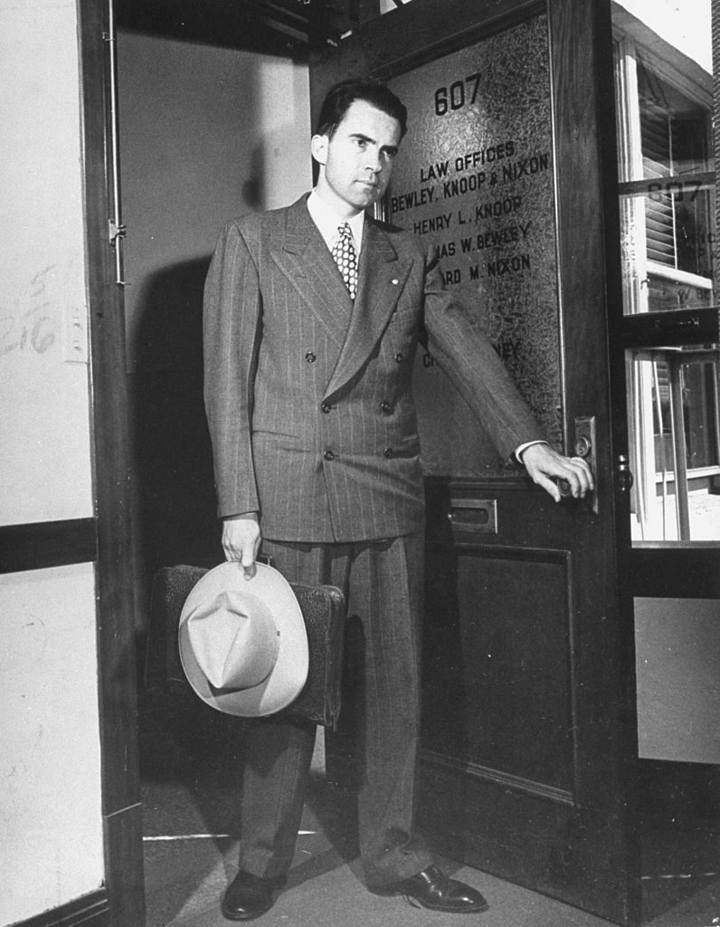 Richard Nixon standing in door to his law office. (Photo by George Lacks/The LIFE Images Collection © Meredith Corporation)