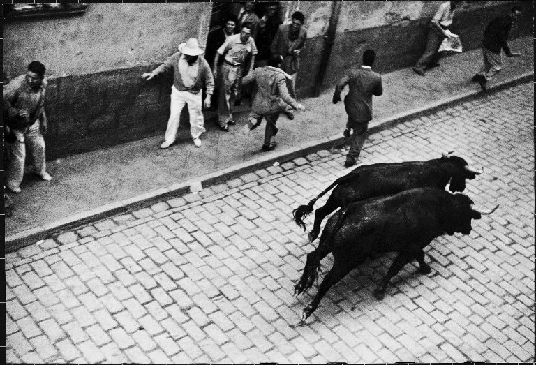 Running of the bulls for fiesta of San Ferman. (Photo by Anthony Linck/The LIFE Picture Collection © Meredith Corporation)