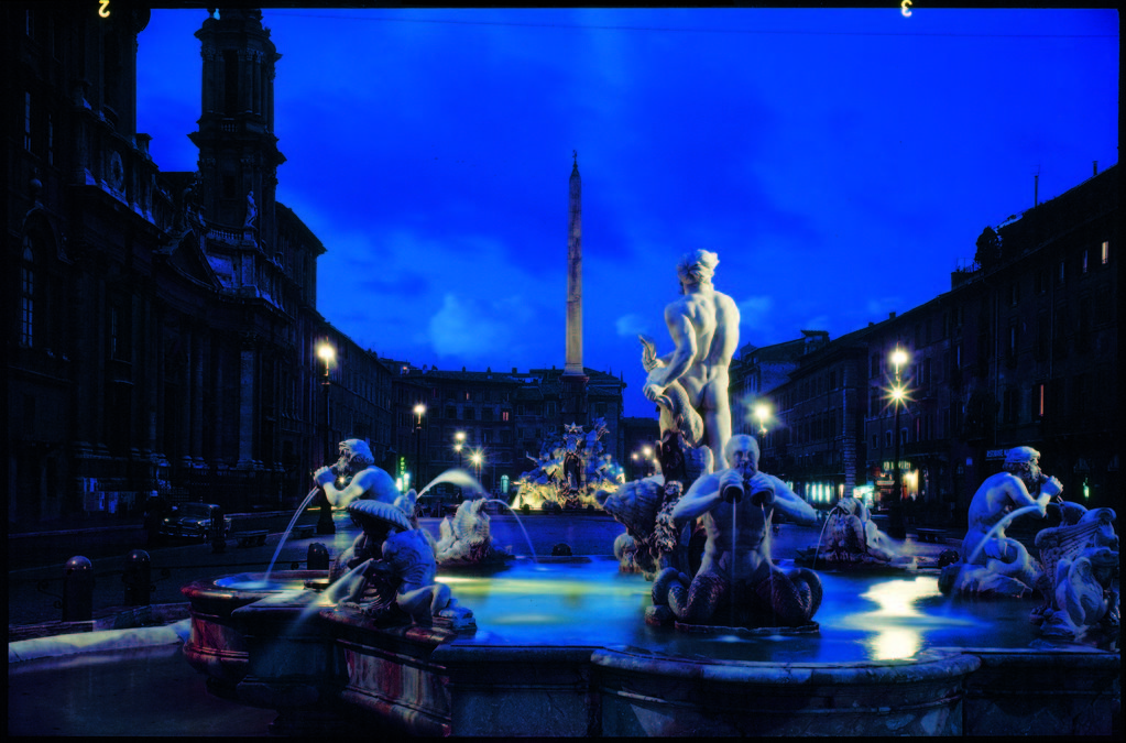 Fountains in the Piazza Navona at night. (Photo by Dimitri Kessel/The LIFE Picture Collection © Meredith Corporation)