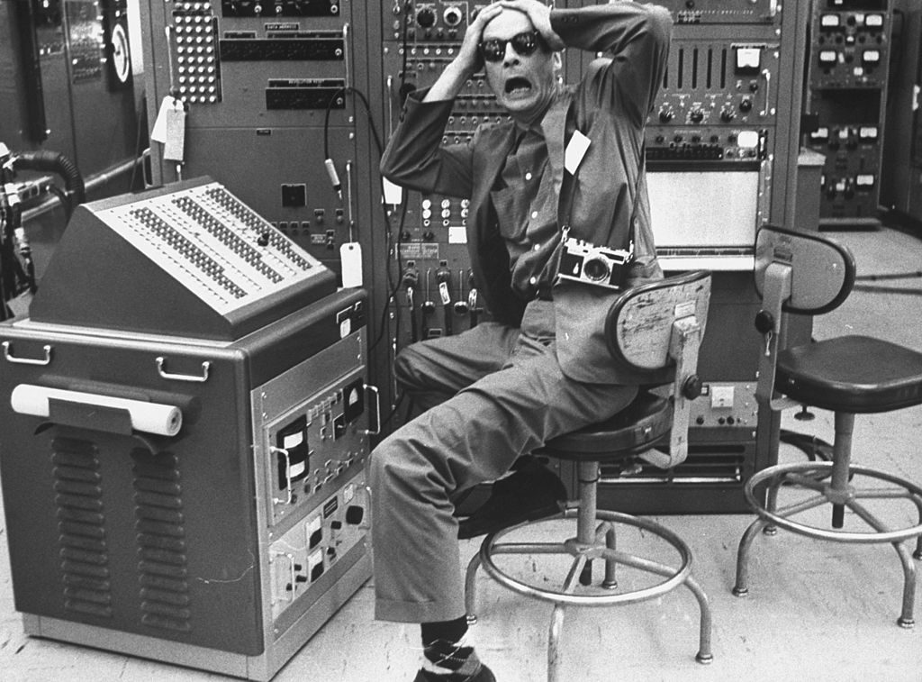 Life photographer Robert Kelley in IBM plant while working on story. (Photo by Robert W. Kelley/The LIFE Picture Collection © Meredith Corporation)