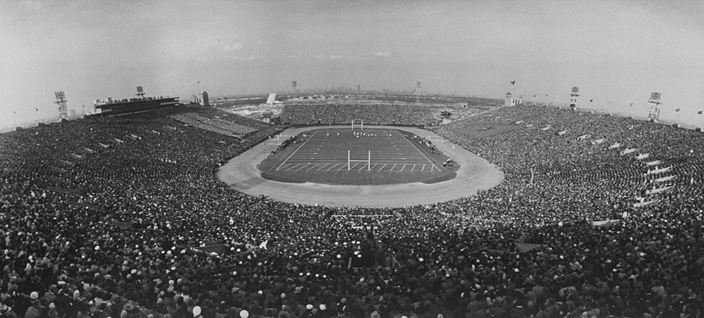Playing field and packed stands during Army-Navy game. (Photo by Yale Joel/The LIFE Picture Collection © Meredith Corporation)