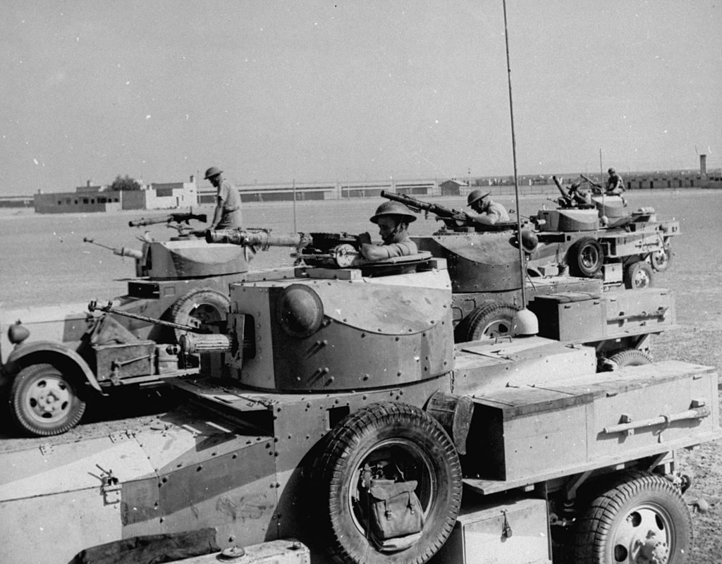 Armoured cars lining up, getting ready to move off to another front after capturing Fort Rutbah. (Photo by James Jarche/The LIFE Picture Collection © Meredith Corporation)