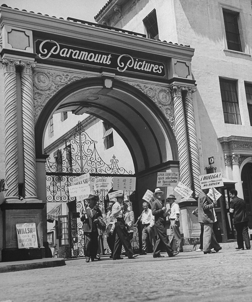 A view of picket lines in front of Paramount Studios during a set directors strike. (Photo by Martha Holmes/The LIFE Picture Collection © Meredith Corporation)