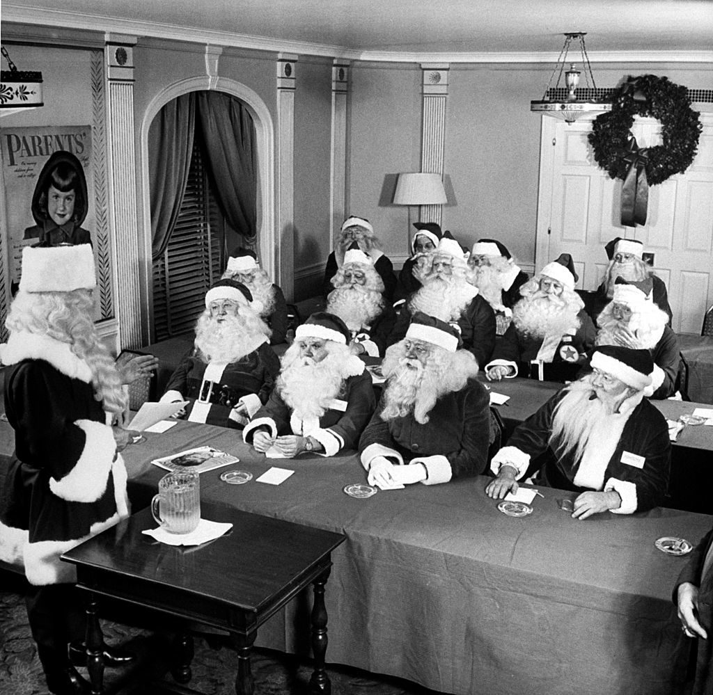 Dean of Santas giving lecture at the Waldorf Santa Convention. (Photo by Martha Holmes/The LIFE Picture Collection © Meredith Corporation)