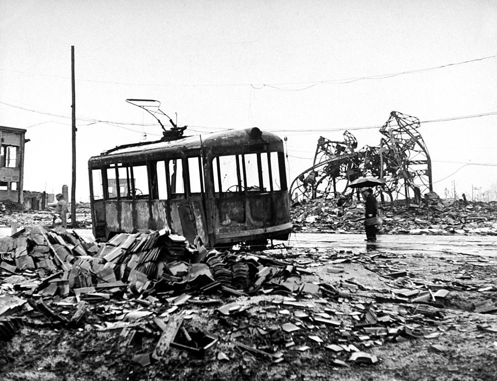 Gutted trolley car amid Hiroshima ruins a few months after the dropping of the atomic bomb by the US, bringing a swift Japanese surrender and an end to WWII. (Photo by Bernard Hoffman/The LIFE Picture Collection © Meredith Corporation)