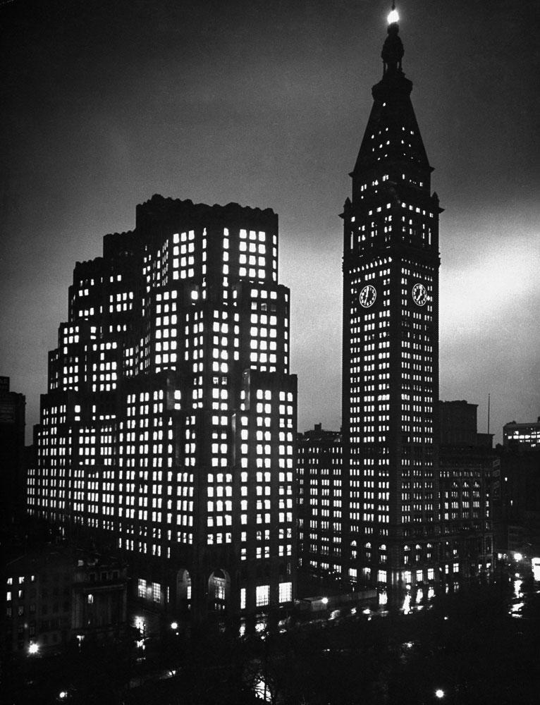 The new Metropolitan Life Insurance Company North Building, left, and the 1909 Metropolitan Life Insurance Company Tower at night, Madison Square, New York City, May 1947.