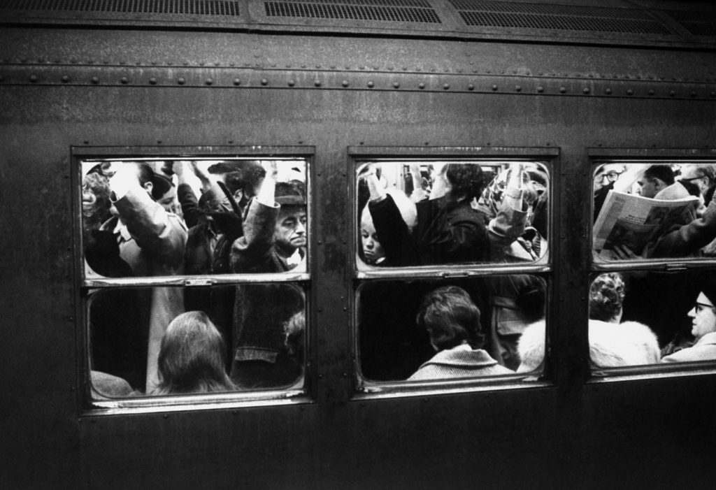 Crowed commuters on a train during rush hour on Manhattan's IRT subway in January 1970.