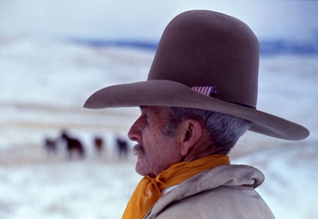 Mustang breeder Bob Brislawn, eastern Wyoming, 1968.