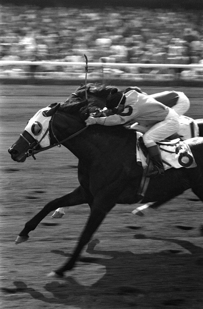 Johnny Longden wins at Hollywood Park, 1952.