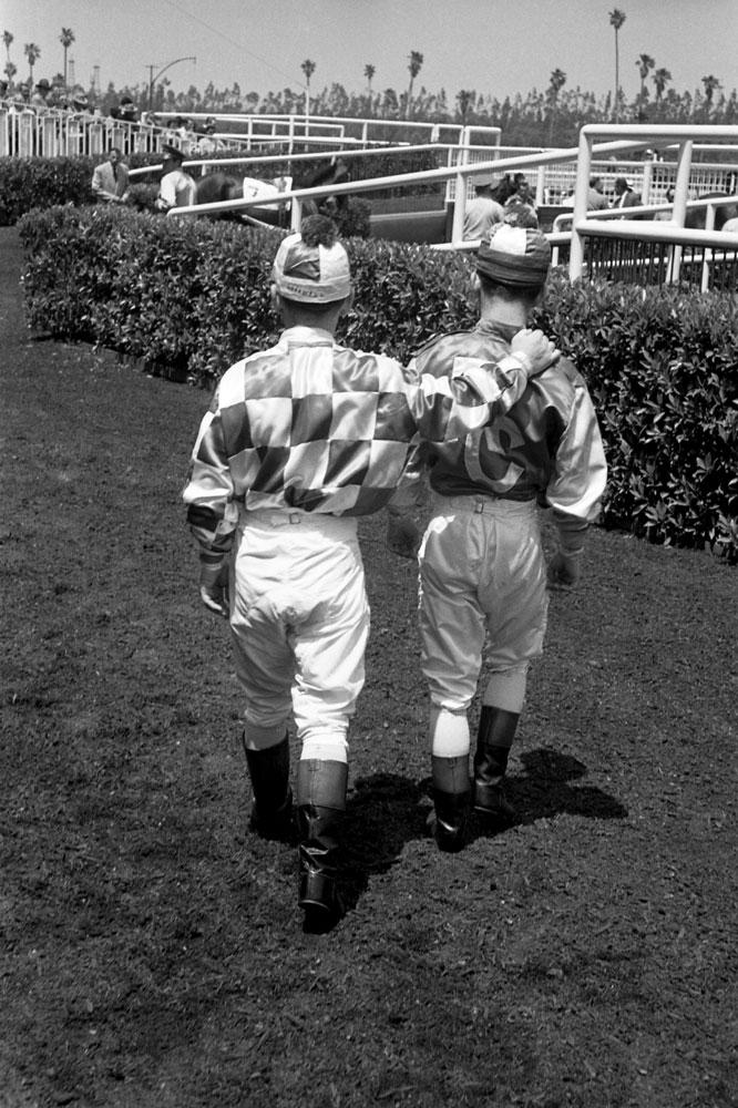 Johnny Longden (left) and fellow jockey, California, 1952.