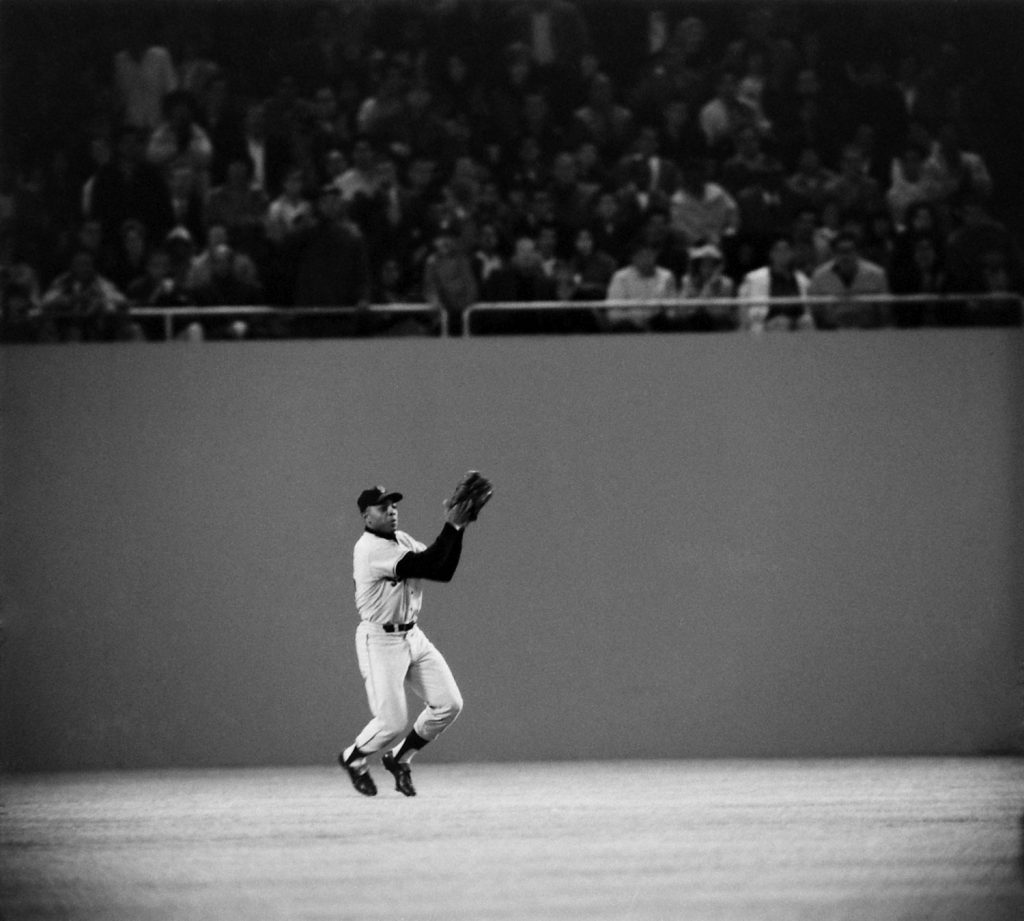 Willie Mays in the outfield, 1964.
