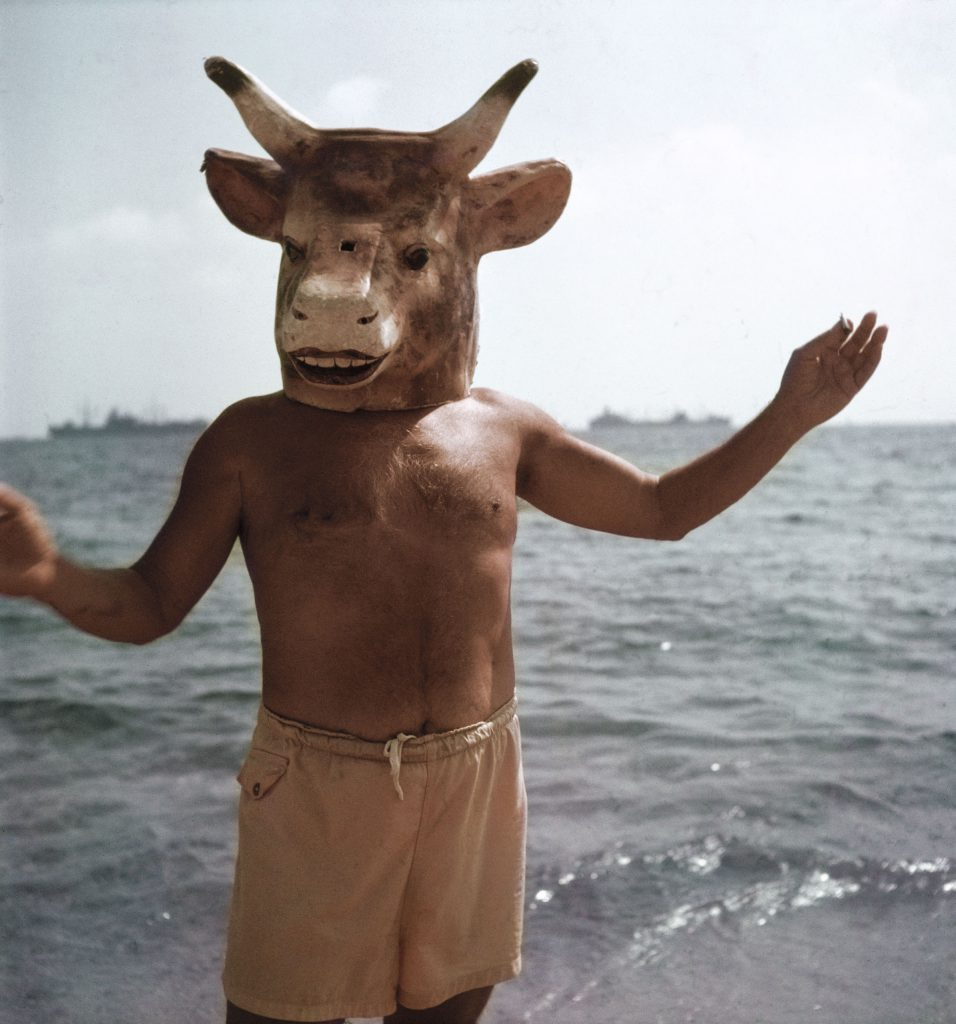 On the beach at Golfe-Juan in 1968, Gjon Mili captures Pablo Picasso reveling in two of his artistic obsessions: the mask and the minotaur, a mythical half-bull, half-man that featured prominently in much of the artist's work.