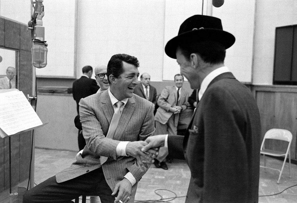 Dean Martin and Frank Sinatra crack up during the Sleep Warm sessions in 1958.