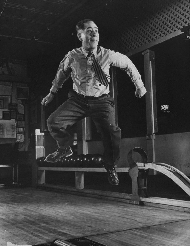 United States Bowling Congress Hall of Famer Joe Falcaro in midair, 1940.