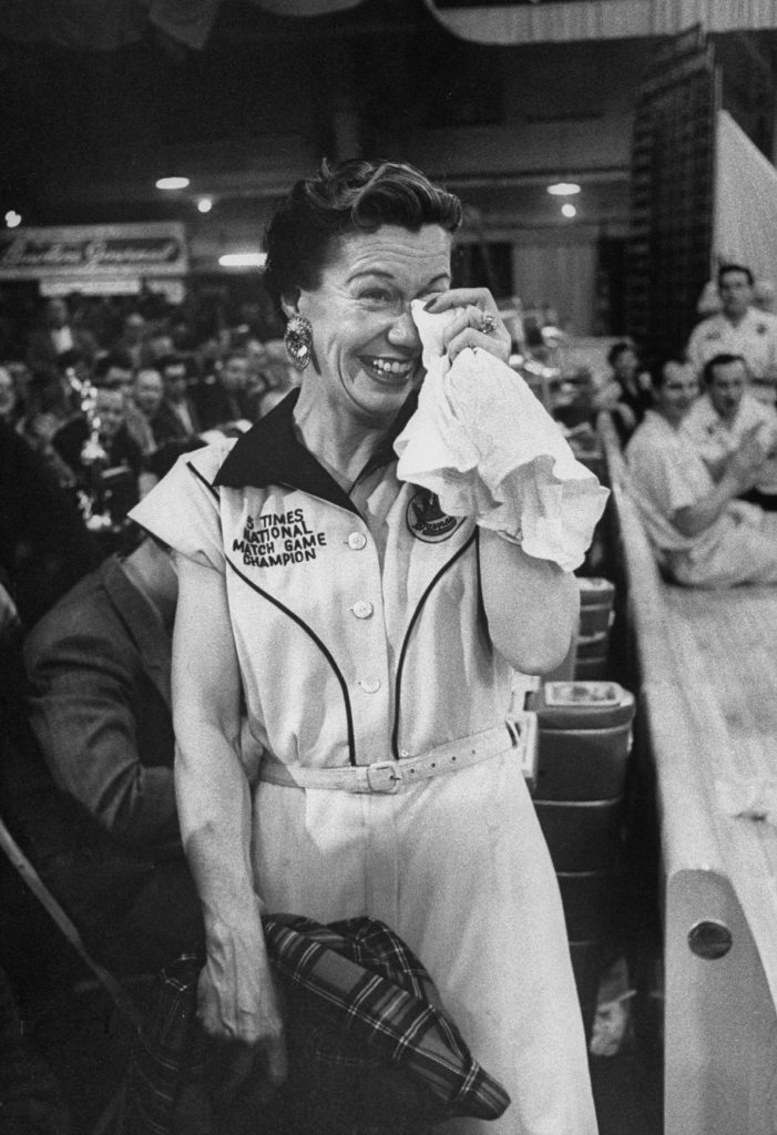 """Marion Ladewig, the """"Queen of Bowling,"""" dabs at her eyes after losing a championship tournament."""