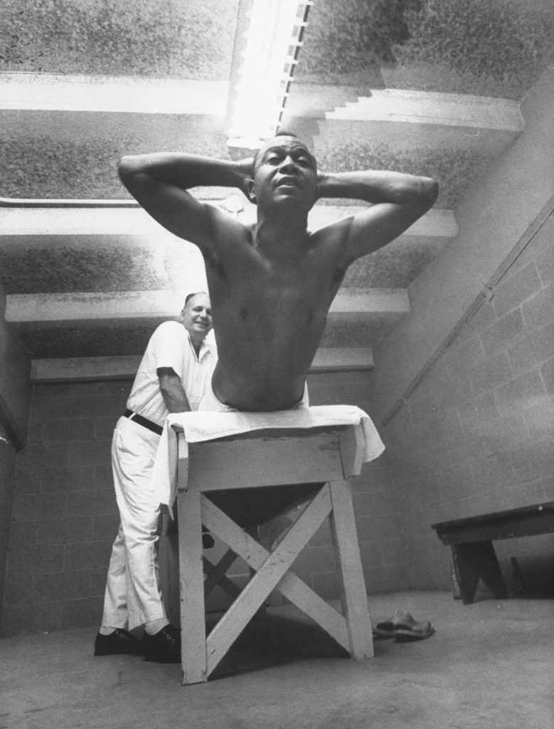 Cleveland's Larry Doby -- the second black player in the major leagues and the first in the American League -- gets a rubdown in July 1955.