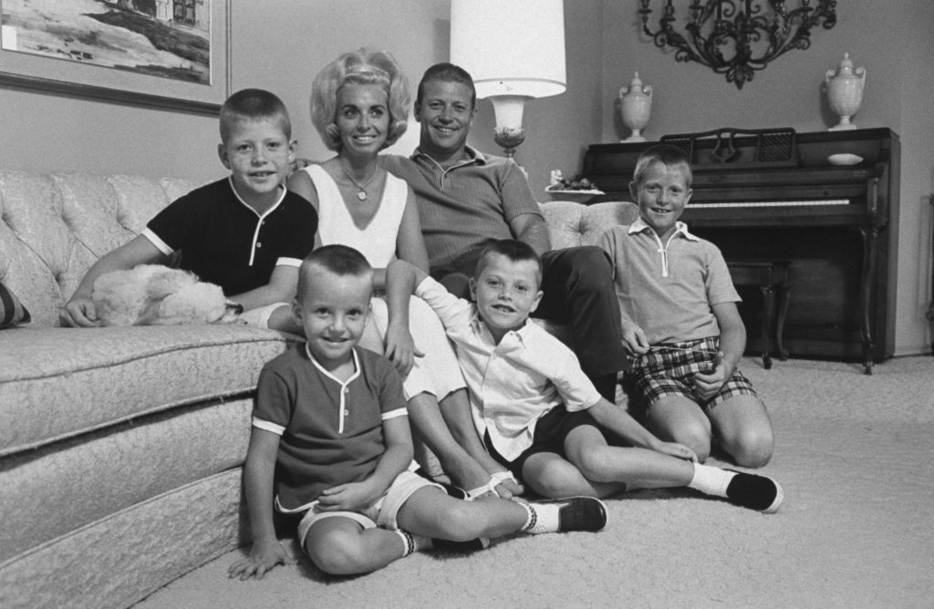 Mickey Mantle poses with his wife Merlyn and their young sons (right to left) Mickey Jr. (who died of cancer in 2000), Billy (who died of Hodgkin's disease in 1994), Danny, and David, in Texas in 1965.