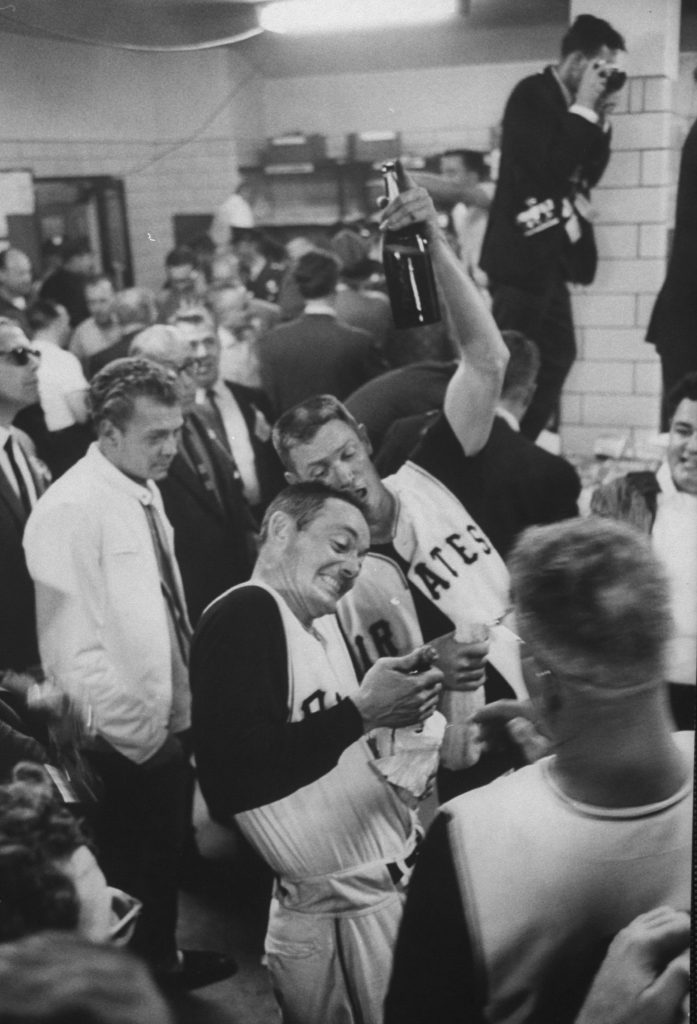 Elroy Face, Pittsburgh Pirates, celebrates a win against the Yankees, October, 1960.