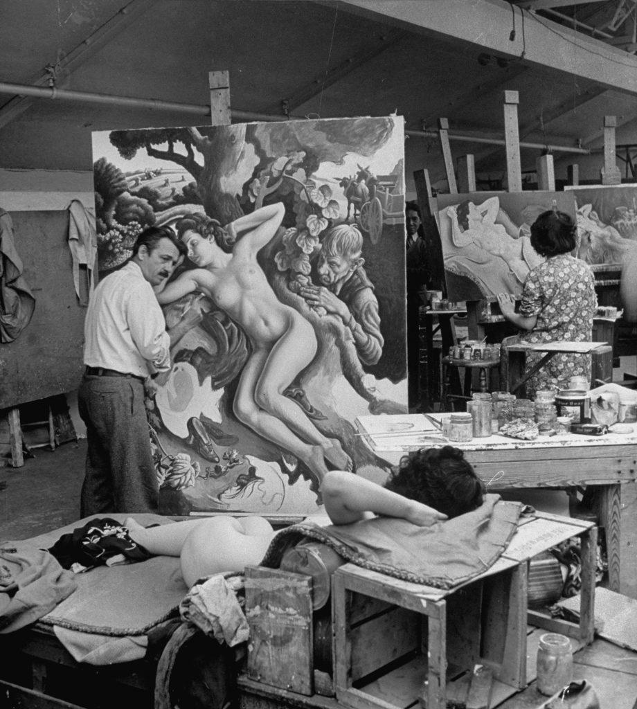 "Thomas Hart Benton at work on his painting, ""The Rape of Persephone."""