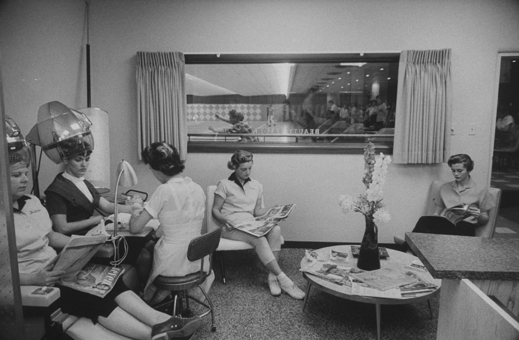Women are pictured in a beauty shop adjoining the Cotton Bowl lanes, for the benefit of women bowlers who can have their hair set between games.
