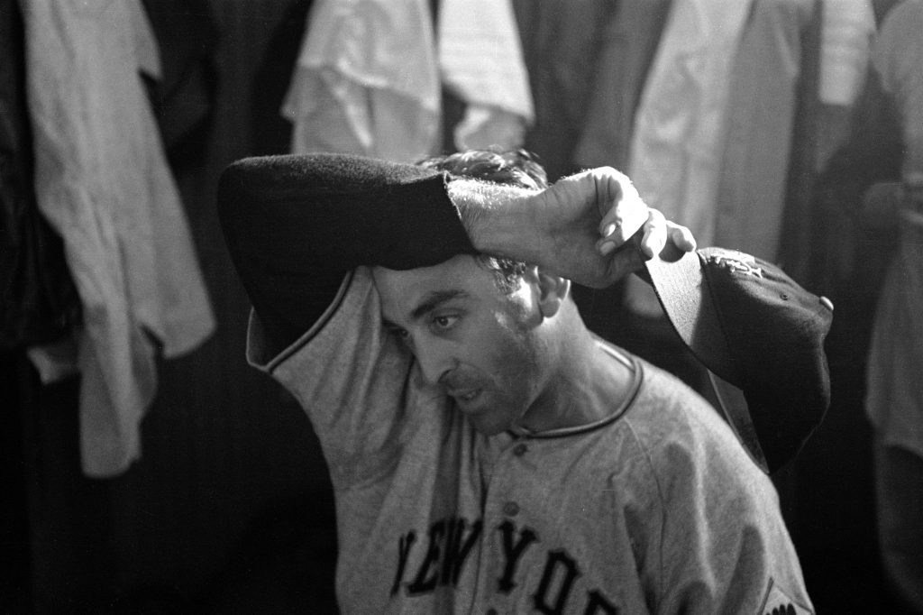 Sal Maglie wipes his brow, Sept. 1951.
