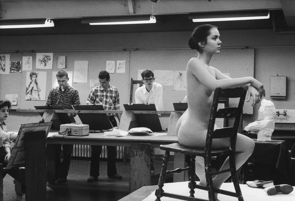 Students at the University of Iowa draw from a nude model in 1961.