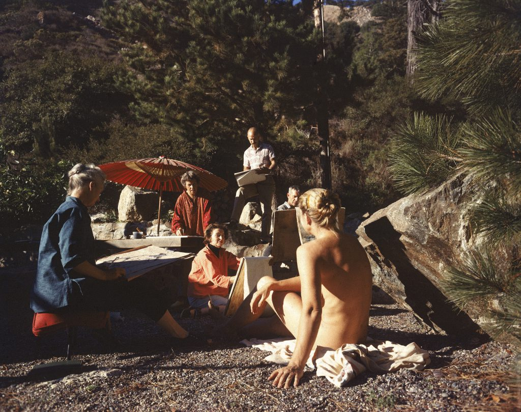 Artists paint a nude model in Big Sur, Calif., in 1959.