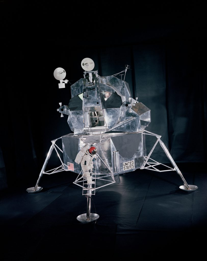 A full-scale model of the Lunar Excursion Module, 1969.