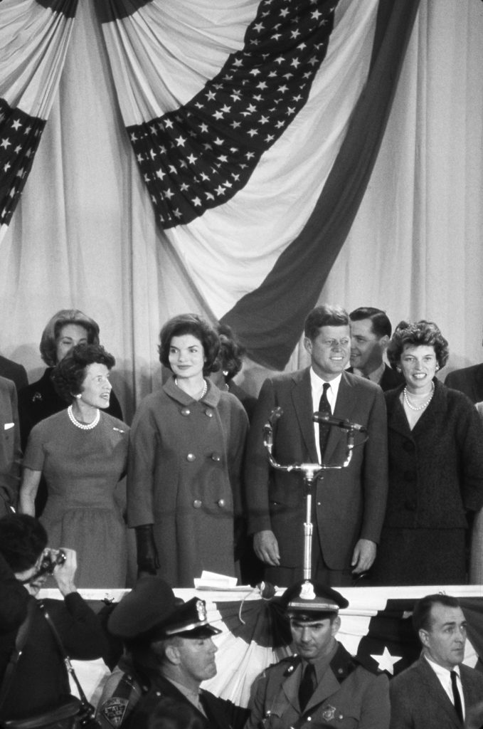 The day after an election in which he bested Nixon by a miniscule 113,000 votes out of more than 68 million ballots cast, president-elect Kennedy gave a brief victory speech at the Hyannis Armory, Nov. 1960.